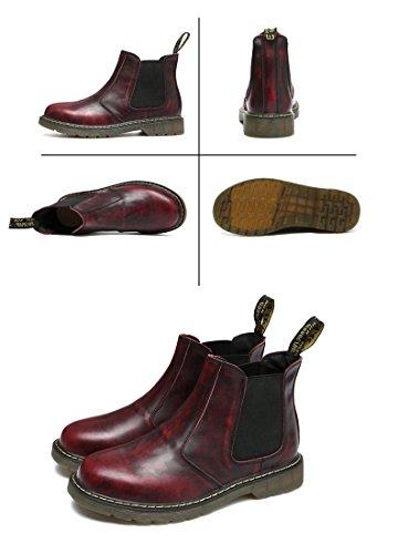 Honeystore Unisex-Erwachsene Bootsschuhe Derby Stiefeletten Kurzschaft Stiefel Winter Boots für Herren Damen Weinrot