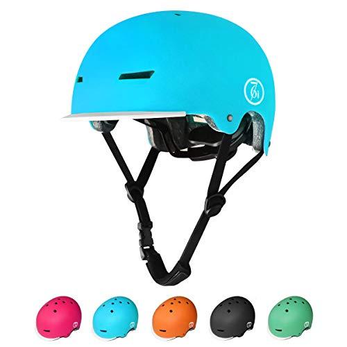 KORIMEFA Kinder Skateboard Helm Kind Fahrrad Schutzhelm 3-13 Jahre alt Jungen und Mädchen Kinder Verstellbarer Helm BMX Reiten Roller Inline Skating (Blau, S) (Helm Fahrrad Kind)