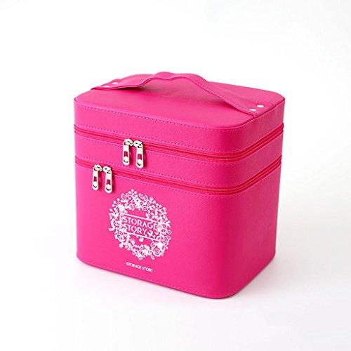 Sac cosmétique de haute capacité double fonction simple étui cosmétique portable grande boîte de rangement 23.5 * 15 * 22.5 cm (9.2 * 5.9 * 8.8 pouces) ( Color : Pink )