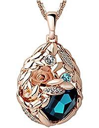 Dayiss® Rosengold vergoldetekette Geschenke für Frauen Kristall Schmuck HalsKette Langekette Pulloverkette