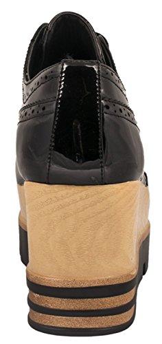 Elara Damen Plateau Schuhe | Metallic High Halbschuhe | Schnürer Profilsohle Schwarz