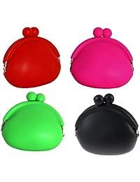 Multipurpose Mini Silicone Coin Purse Bag Headphone Earphone Pouch Case - Assorted Colour 4Pcs