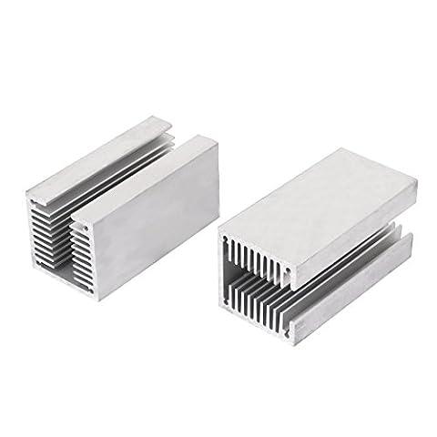 sourcingmap® 2 pcs ton argent crénelé en U en aluminium chaleur radiateur Radiactor 80x40x40mm