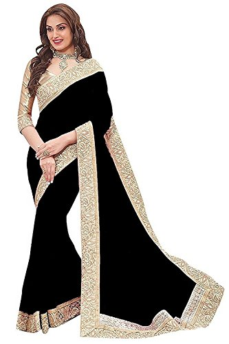 DIYA Fashion Sarees New Disigner Georgette Saree With Blouse Piece , Diya Fashion Designer Saree, Latest Collection Designer,Bollywood Designer Sarrees For Women Designer Sarees For Sale Sarees,indian traditional designer wear,smooth finish and perfect stitching,Diya fashion create fancy fabrics at cometitive prices.the diyafashion serves the customers with superior quality fabric(Black Color Saree With Printed Jecard Les Border And Blouse)  available at amazon for Rs.475