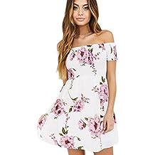 vestidos de mujer,Switchali Moda Mujer Fuera del hombro Floral playa Casual Fiesta Nocturna Mini