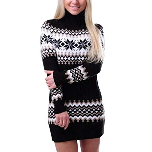 2018JYJM Weihnachten Abendkleider lang samtkleid Damen Womens Christmas Snowflake Printed Langarm-Rollkragenpullover-Kleid Mantel Mantel Wärmemantel Winterjacke Übergangsjacke ()