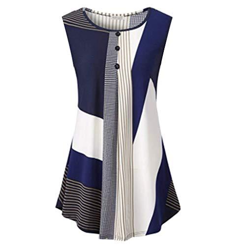 (Yvelands Damen Weste Tank Tops T-Shirt ärmellose runde Kragen Floral unregelmäßigen Streifen lose beiläufige Oberteile Bluse(CN-XL,Blau))