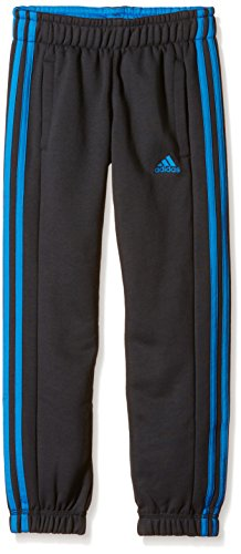 Adidas Pantaloncini da ragazzo Essentials 3-Stripes Spazzolato Closed Hem, Ragazzo, Hose Essentials 3-Stripes Brushed Closed Hem, Dark Grey/Shock Blue S16, 7-8 anni