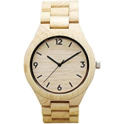 Reloj de madera de bambú - Dxlta Moda Naturaleza Reloj de madera Para hombres mujeres, Deporte Análogo (2)