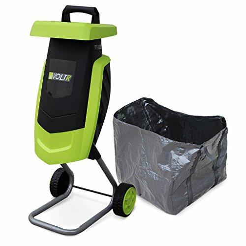 Alice's Garden - VOLTR - Broyeur à végétaux électrique 2200W - Sac de récupération, poussoir, roulettes, broyage des branches pour engrais ou compost