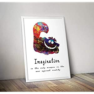 Alice im Wunderland inspiriert Aquarell Poster – Zitat – Alternative TV/Movie Prints in verschiedenen Größen (Rahmen nicht im Lieferumfang enthalten)