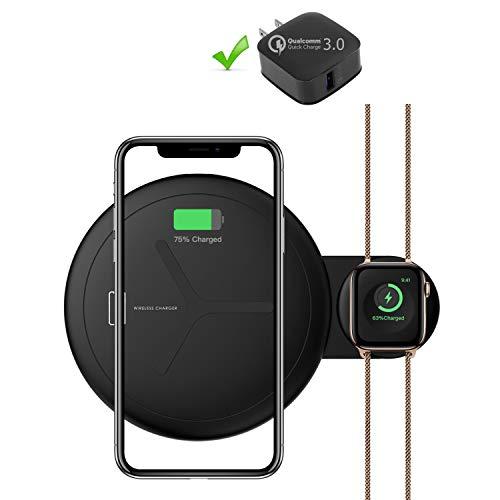 l ladestation für Apple Watch und iPhone, Duale Wireless Ladegerät mit QC3 Adapter (10W, Black) ()