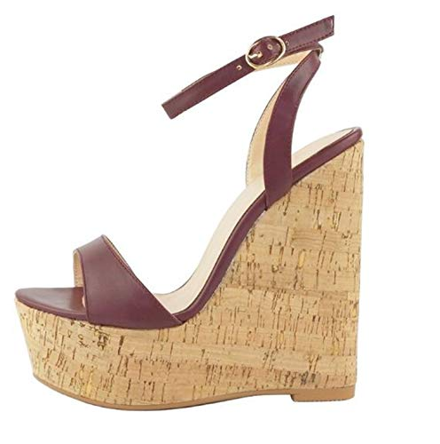 Sexy Wedge Sandals Woman Fashion Platform Ankle Strap Gladiator Shoes Sexy Open Toe Super High Gladiator Sandals Brown 43