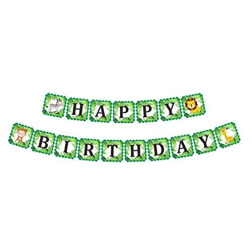 Vektenxi Premium Qualität Cartoon Tier Happy Birthday Party Banner Dschungel Safari Party Ammer Flaggen Girlanden Decor, 2