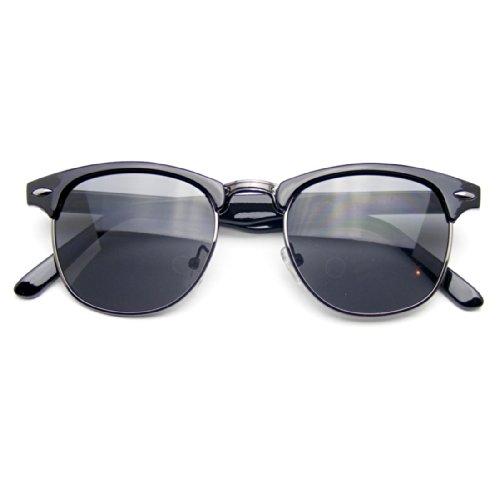 Emblem Eyewear - Cornuto Metà Clubmaster Ispirato Vintage Classico Telaio Occhiali Da Sole Wayfarer Rim (Nero)