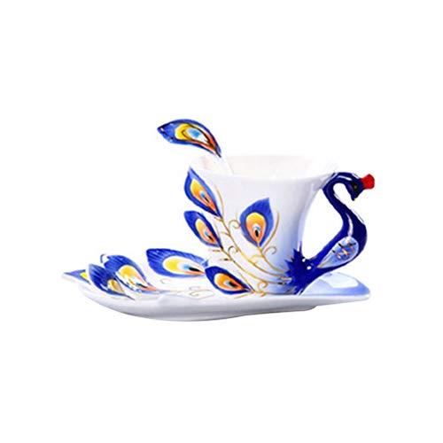 BESPORTBLE Keramik Tasse Emaille Porzellan Untertasse Löffel Kaffee Tee-Sets Moderne Kunst Hochzeit Pfau Geformte Tasse Kaffeetasse Teetasse Set Kreative Keramik Kaffeetasse Set (Blau) Pfau Keramik