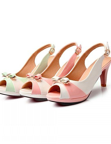 UWSZZ IL Sandali eleganti comfort Scarpe Donna-Sandali-Matrimonio / Ufficio e lavoro / Serata e festa-Spuntate-A stiletto-Finta pelle-Verde / Rosa / Bianco Pink