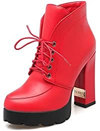 Brooklyn Walk Big Size 33-43 Lace Up Chunky Heels Hot Sale Winter Boot Woman Shoes Ankle Boots Shoes Woman