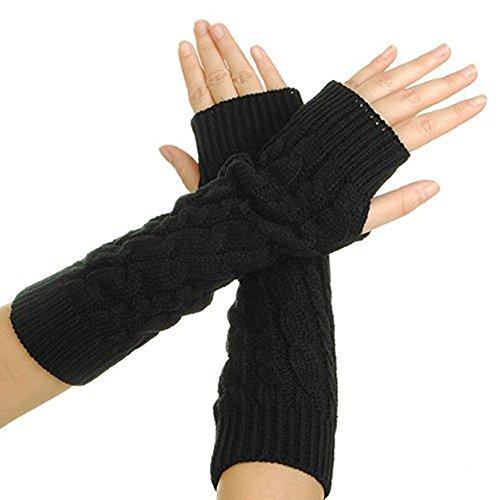 Frauen Dame Knitted Crochet Fingerless Soft Handschuhe Winter Hand Warm Long Stretchy Arm Wärmer Handschuhe Fäustlinge (Schwarz) (Wärmer Handschuhe Arm)