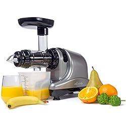 JuiceMe DA 1000 - Extracteur de jus - Extracteur jus Horizontal - Rotation Lente - Silencieux - Multifonction - Simple à Nettoyer - Sans PBA - Couleur Argent