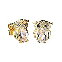 Ilove EU Shiny Gold Plated Earrings Owl Bird Stud Earrings Cubic Zirconia White Gold Charm Charm Silver
