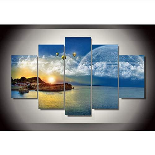 Wiwhy Wandkunst 5 Paneldreams Einer Fantasy-Welt 5 Stück Gruppe Malerei Raumdekor Druckplakat Bild Leinwand,30X40/60/80Cmwiwhy