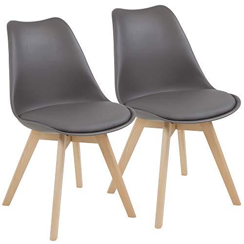Albatros Esszimmerstühle AARHUS 2-er Set, Grau mit Beinen aus Massiv-Holz, Buche, skandinavisches Retro-Design