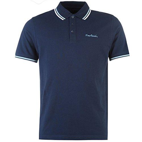Pierre Cardin Tipped Herren Polo Shirt Kurzarm Tee Top Polohemd Poloshirt Marineblau Small -