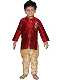 Divinee Maroon Color Brocade Art Silk Sherwani Set for Boys with Embroidery Work