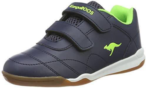 KangaROOS Unisex-Kinder Courtyard V Sneaker, Gelb (Dk Navy/Lime 4054), 28 EU