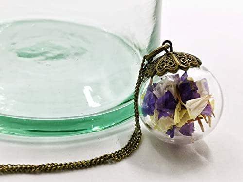 Grande collana donna in bicchiere - Fiori di Lavanda di mare - Globo 25mm - Idea regalo di San Valentino - regali per lei - Prime