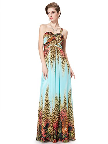 Ever Pretty Robe de cocktail longue mousseline imprimée fleur multicolore 08394 Bleu clair