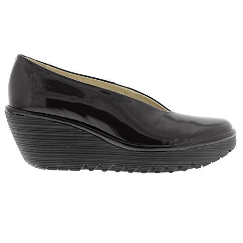 Fly London Womens Yaz Patent Wedge Leather Shoes