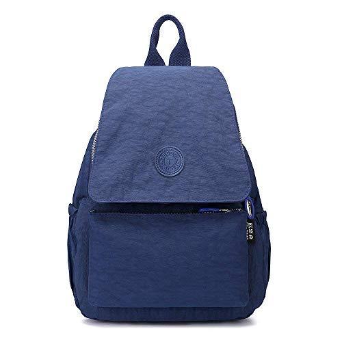 TECOOL - Casual Mochila Bolso para Mujeres, Moda Pequeño Ligero Nylon Impermeable Multi-bolsillos para Deportes y Aire Libre Ocio, Azul