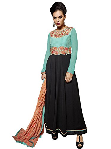 Kanchnar Women's Classic Black and Sea green Georgette Embroidered Semi-Stitched Party Wear...