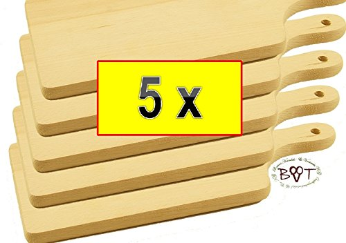 Preisvergleich Produktbild 5x Picknick Grill und Frühstücksbrett - robuste,  hochwertige 16 mm starke Picknick Holzbrettchen natur,  mit abgerundeten Kanten,  Maße viereckig je ca. 35 cm x 16 cm als Servierbrett,  Brotzeitbrett mit Griff,  Naturholz - Rotbuche unbehandelt,  Frühstücksbrettchen,  Bayerisches Brotzeitbrettl mit Holzgriff,  NEU robuste Schneidebretter,  Anrichtebretter,  Frühstücksbretter,  Brotzeitbretter,  Steakteller rustikal,  Rindenbretter,  Steakbrett Schinkenteller,  Holz