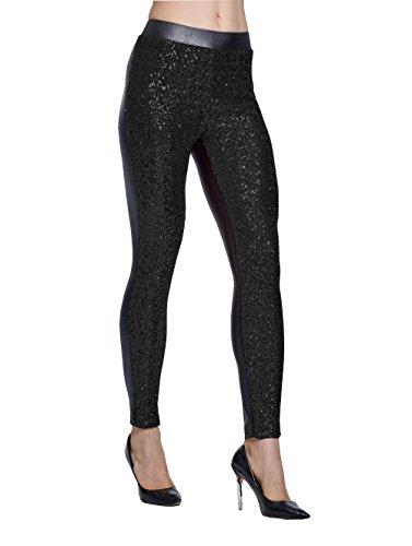 Lotus Instyle Damen Hosen vorne mit Pailletten Leggings (XXL, Black)