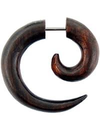 Tribal petite boucle d'oreille spirale Sono bois brun Chic-Net texturé faux tiges de perçage en acier inoxydable de 1 mm