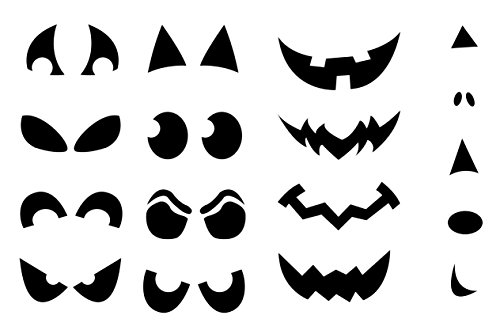 Epic Modz Vorlagen-Aufkleber für Halloween-Kürbisse, Vinyl, Sticker-Set mit Nase, Augen, Mund, Einwegartikel