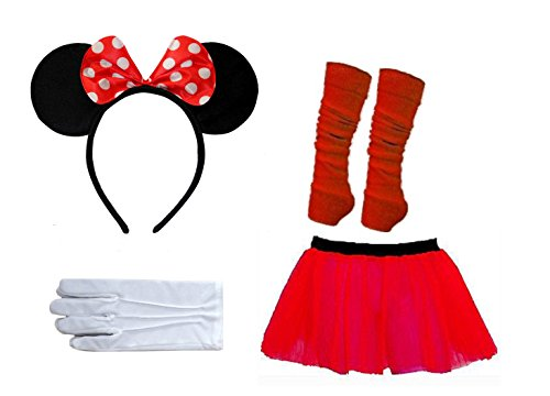 Damen Rot Weiß Polka Dot Maus Theme Fancy Dress Set EUR Größe 36-46- Pick & Mix (S/M (EUR 36-38), 4 Peice Set - Rot / (Stirnband Ohren Disney)