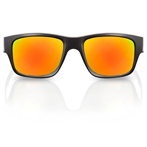 Polarisierte Sonnenbrille Unisex verspiegelte Sport-Sonnenbrille mit polarisierenden und verspiegelnden Gläsern (Gelb-Rot Matt)