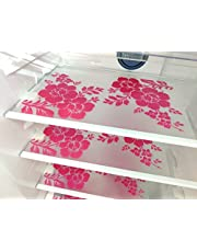 Paaroots PVC Fridge Mats Waterproof,Stain Resistant, Washable Placements Perfect for Kitchen,Fridge Drawer,Restraurant, Decoration,Table Mat (Set of 3) Flower Design Black and White Transparent