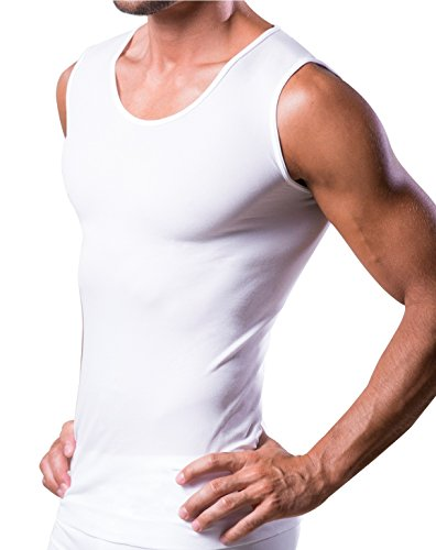07f524194 T-DRY man undershirt invisible and breathable seamless business singlet  tank top, White, Large / X-Large