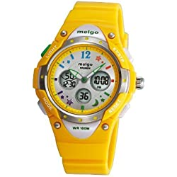 Wise® Boys Watches, Kids Teenager Girls Dual Time Waterproof 100m Women Sports Casual Wrist Watches with Bling Bling Moon Star Pattern 2001ad Yellow