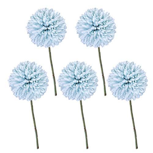 HEALLILY 10 stücke Künstliche Blume Chrysantheme Ball Blumen Seidenblumen für Home Office Hochzeit (Blau)