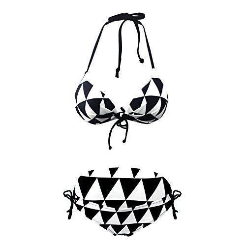 Mufly Bikini Set Damen Mädchen Neckholder Badeanzug Push Up Bademode Schwimmanzug Strandmode mit Slip Swimsuit Swimwear Beachwear für Sommer Wassersport Schwarz-2