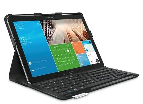 Logitech Pro Schutzhülle mit Keyboard für Samsung Galaxy NotePro 12.2 und Samsung Galaxy TabPro 12.2 (QWERTZ, deutsches Tastaturlayout) Carbon Black