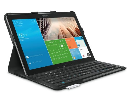 Logitech Pro Schutzhülle mit Keyboard für Samsung Galaxy NotePro 12.2 und Samsung Galaxy TabPro 12.2 (QWERTZ, deutsches Tastaturlayout) Carbon Black Galaxy Note Pro Case Tastatur