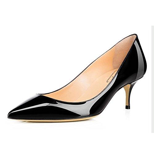 54dfa0722dc EKS Women s 6CM Pointed Toe Kitten Heel Patent Leather Dress Party ...