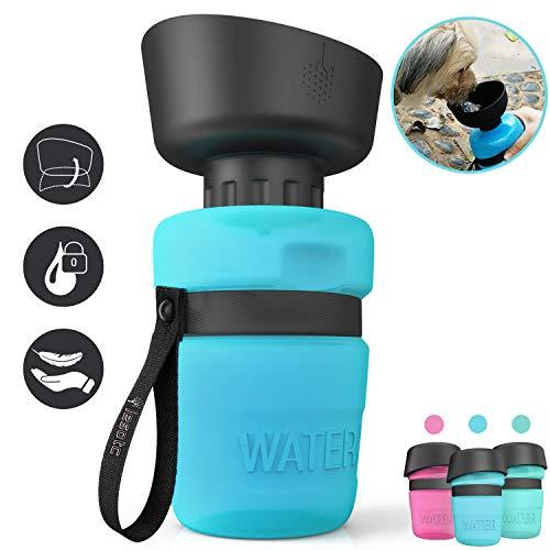 lesotc Hundetrinkflasche für unterwegs, 520ml Trinkflasche Hunde für unterwegs, Hund Wasserflasche, Blau